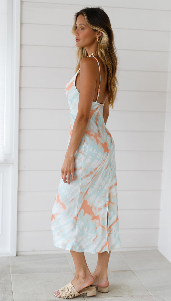 Heartbreaker Midi Dress (Teal & Peach)