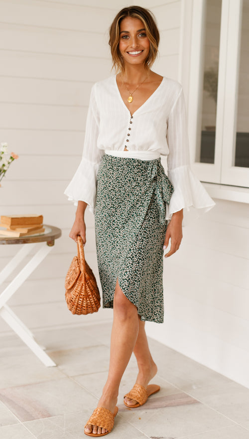Daisy Bloom Skirt (Forest Green)