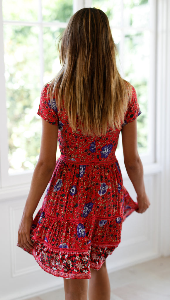 Sweet Pea Mini Dress (Red Floral)