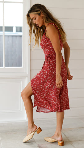 Speckled Love Dress (Crimson)