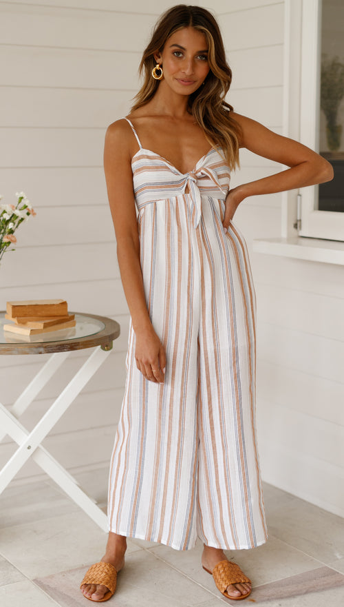 Happy Wanderer Jumpsuit (Beige Stripe)