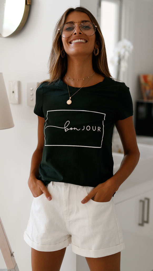 Bonjour Tee (Forest Green)