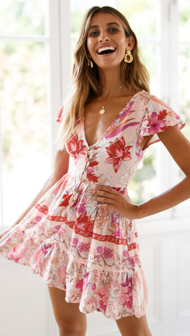Peachy Days Dress (Pink Floral)