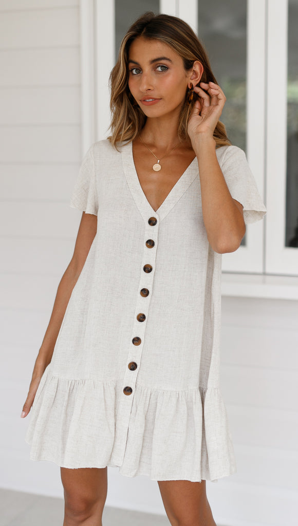 Hazel Mini Dress (Beige)