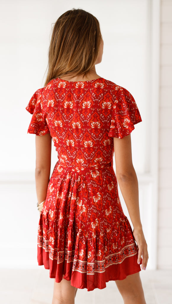 Amazing Grace Dress (Dark Red Floral)