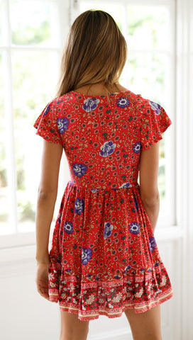 Valentina Dress (Red & Purple Floral)