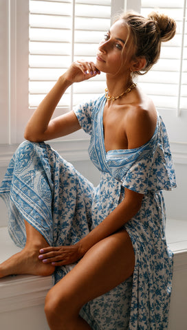 Sunset Dress (Blue and White Floral)