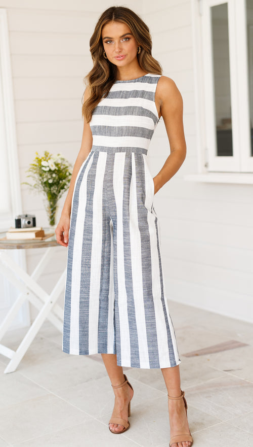Los Cabos Jumpsuit (Navy Stripe)