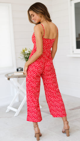 Wondrous Thoughts Jumpsuit (Red Floral)
