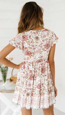 Valentina Dress (Cream Floral)
