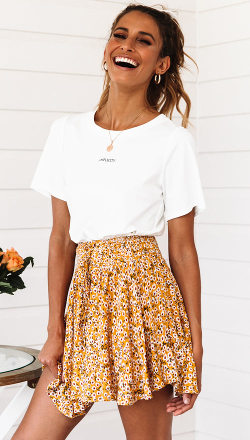 Moon Tide Skirt (Yellow Floral)