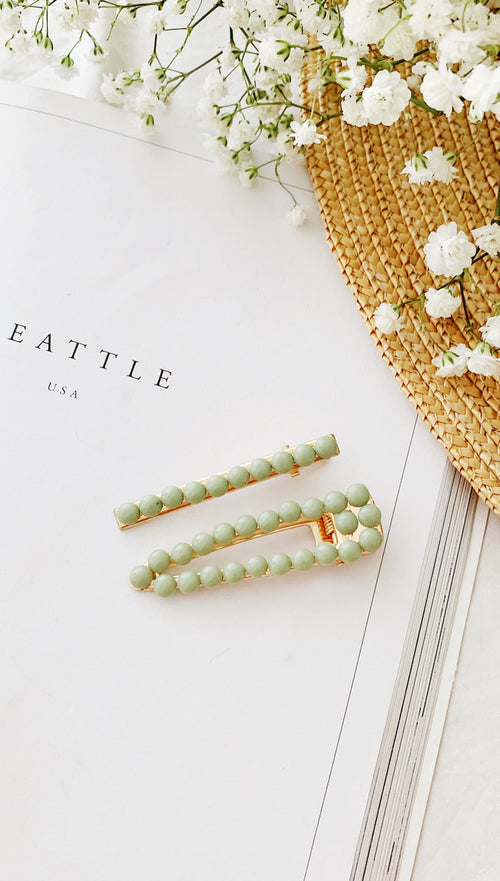 Ophelia Hair Clip Set (Green)