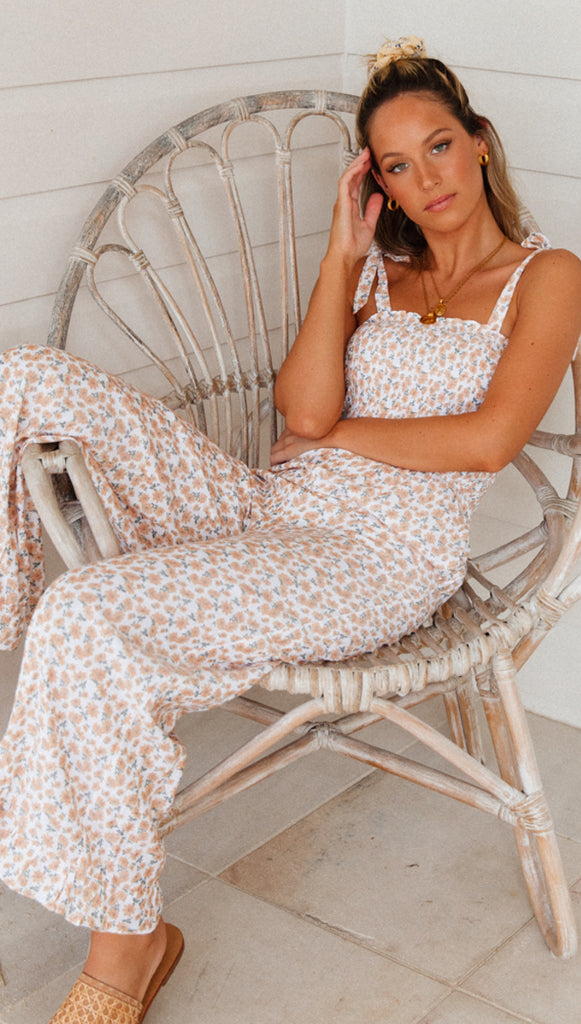 Dreaming of Spring Jumpsuit (Peach Floral)