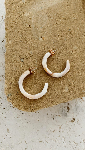 Assada Earrings (Cream & Tan)
