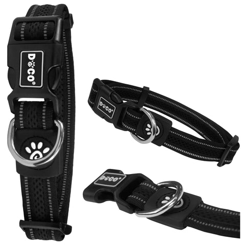 DOCO® Reflective Rope Collar + Leash Combo w/ Leather Stopper - Soft Rubber Hand Loop