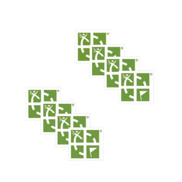 Green/White Mini Sticker - 8 pk - Ground Zero Geocaching Supplies