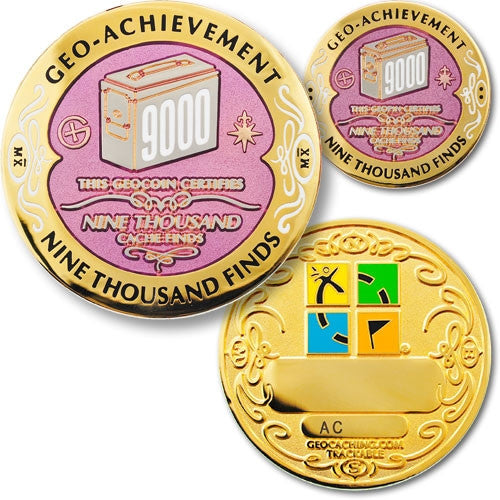 9000 Finds Geo-Achievement Set - Ground Zero Geocaching Supplies
