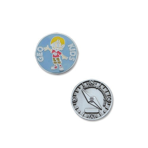 GeoKids Boy Micro Geocoin - Ground Zero Geocaching Supplies  - 1