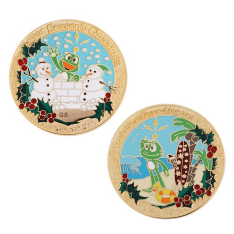 Signal Holiday Geocoin - Gold