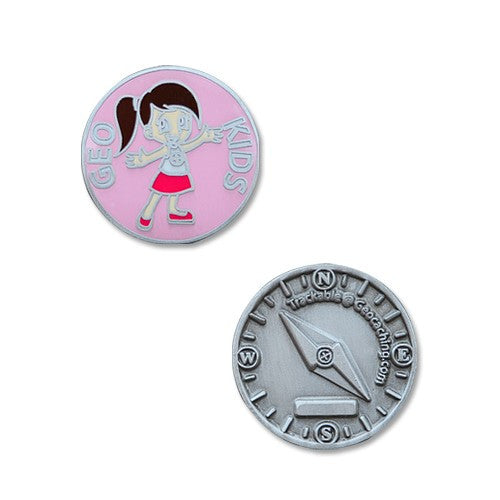 GeoKids Girl Micro Geocoin - Ground Zero Geocaching Supplies  - 1