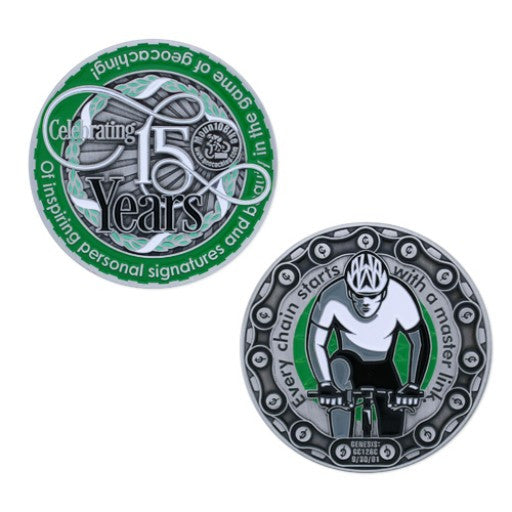Moun10Bike 15 Year Tribute Geocoin - Ground Zero Geocaching Supplies