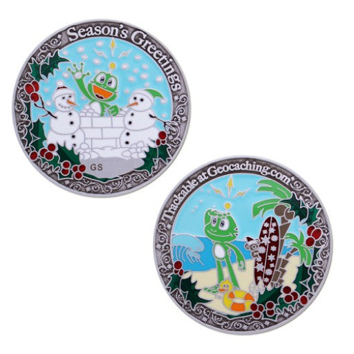 Signal Holiday Geocoin - Silver - Ground Zero Geocaching Supplies