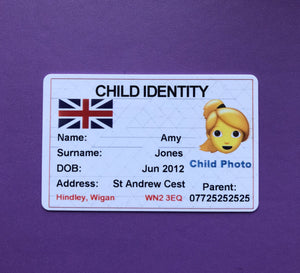 Missing/ Lost/ Vulnerable Person ID Card with Emergency Contact