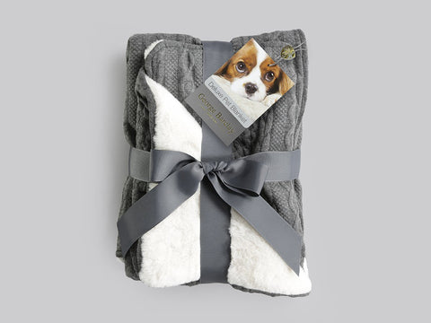 George Barclay Aran Knit Pet Blanket Charcoal