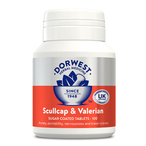 Dorwest Scullcap and Valerian Tablets for Dogs & Cats