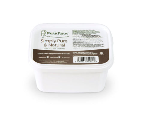 PURRFORM Frozen Single Minced Farm Rabbit with Ground Bone & Ox Heart 450g