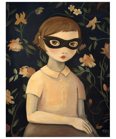 Masked Evaline with Floral Wallpaper Print by Black Apple