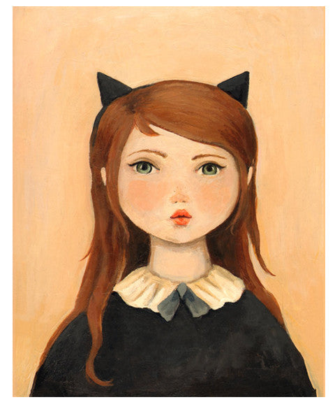 Portrait with Cat Ears Print by Black Apple