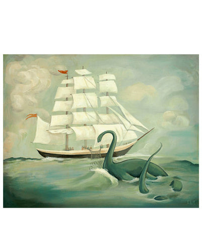 The Unsuccessful Capture of the Great New England Sea Monster Print by Black Apple