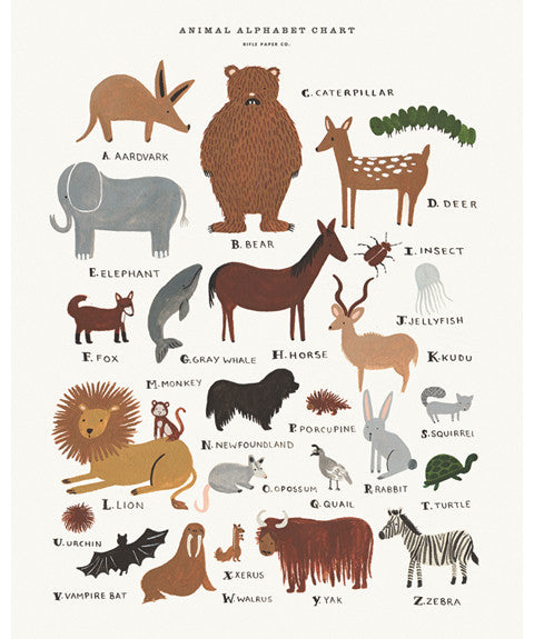 Animal Alphabet Print by Rifle Paper Co