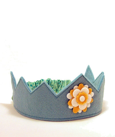 Felt Crown Blue with Flower