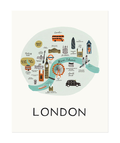 London Map Print by Rifle Paper Co. 11x14 inches