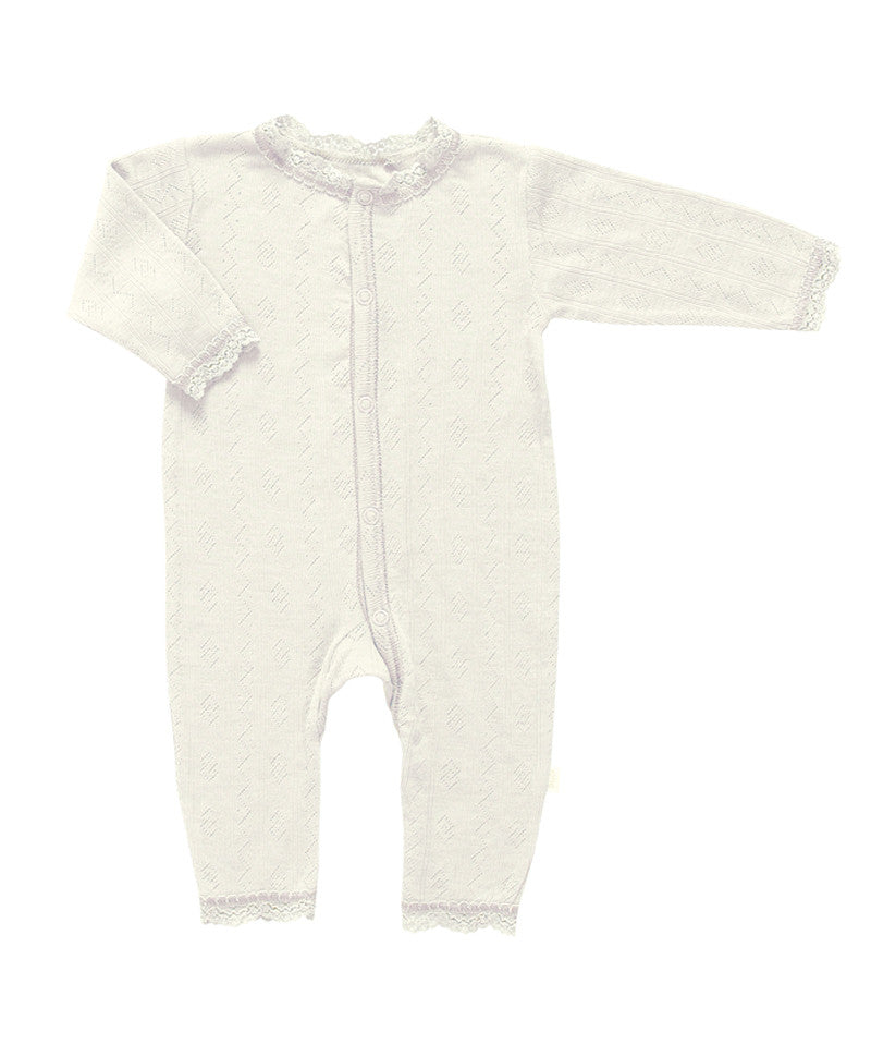 Pointelle Wool and Silk Onesie in Creme by Joha