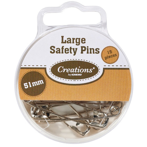 Korbond - Large Safety Pins - 51mm - Pack of 15 - RKL Tools & Hardware