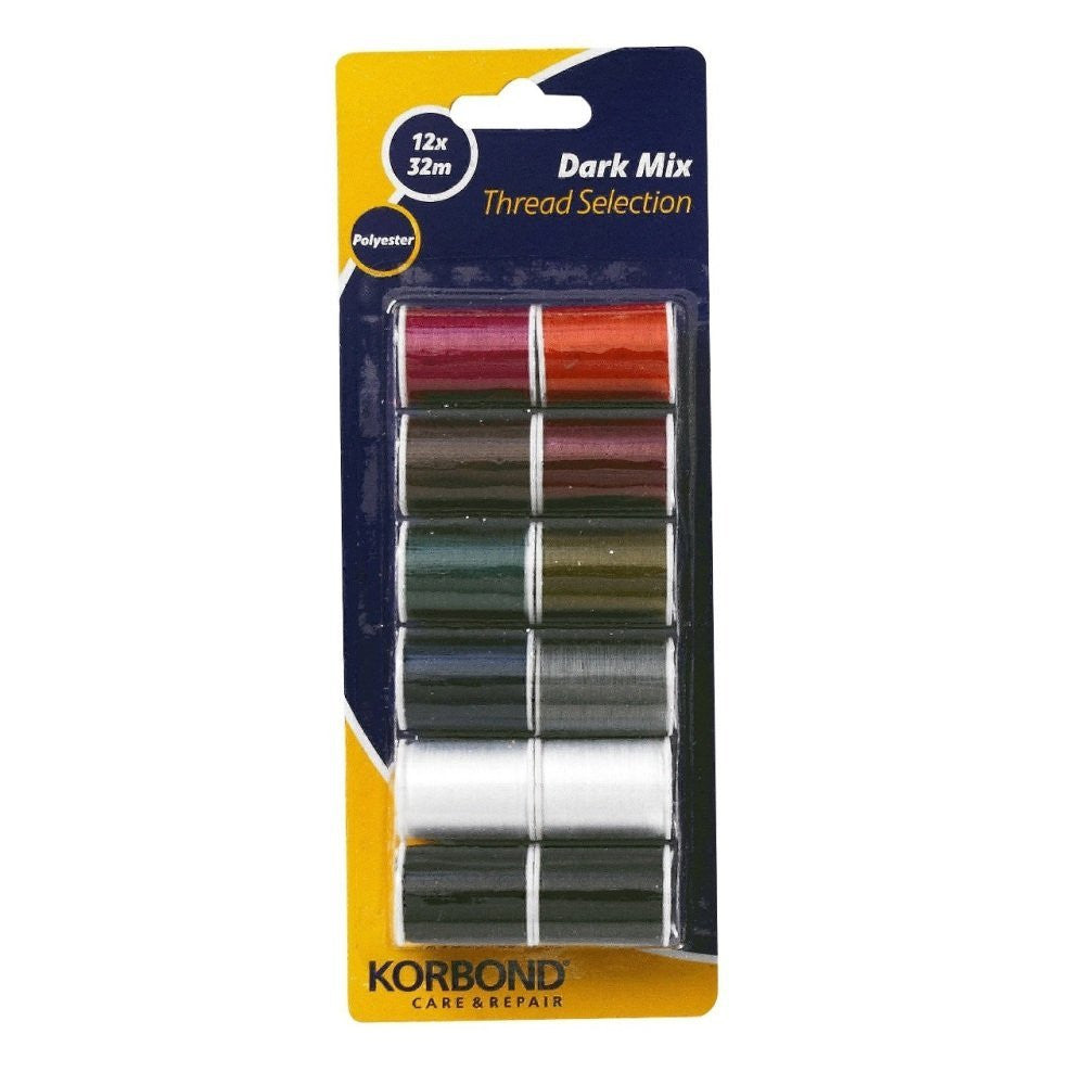 Korbond - Dark Mix Polyester Thread Selection 12 pack
