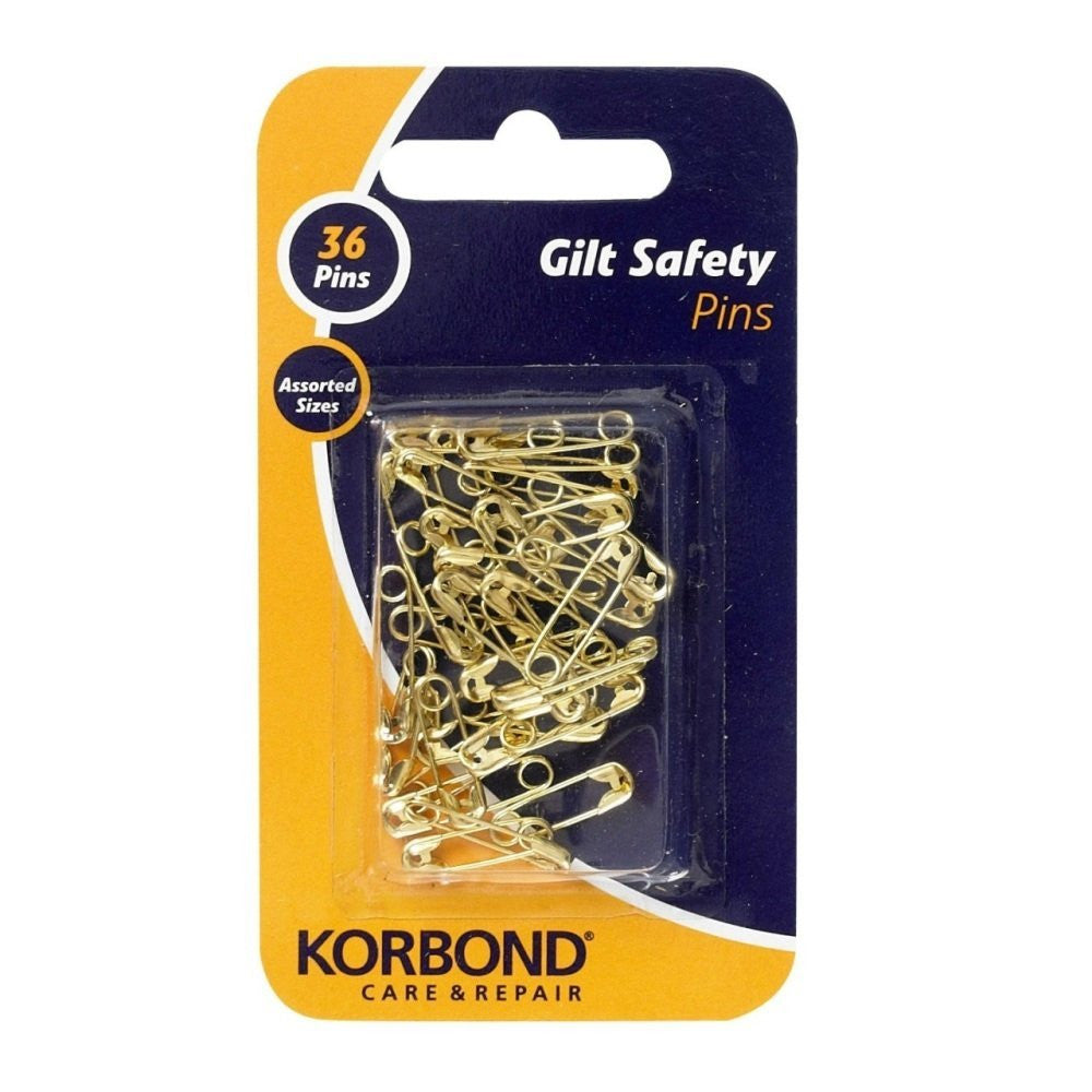 Korbond - Gilt Safety Pins - 36 Piece Pack - RKL Tools & Hardware