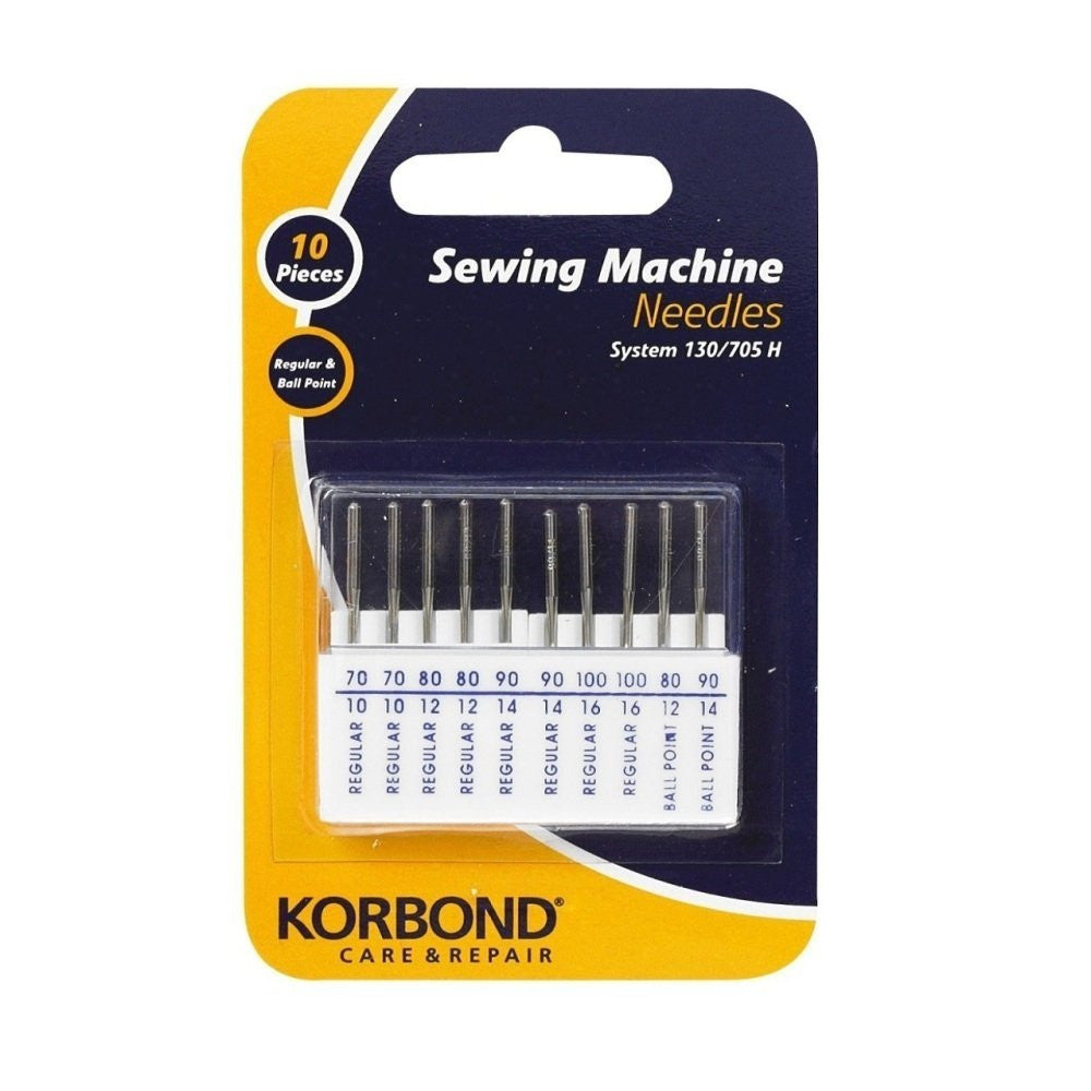 Korbond - 10 Piece Sewing Machine Needles Regular & Ball Point