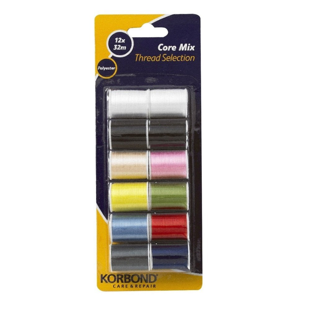 Korbond - Core Mix Polyester Thread Selection 12 pack - RKL Tools & Hardware