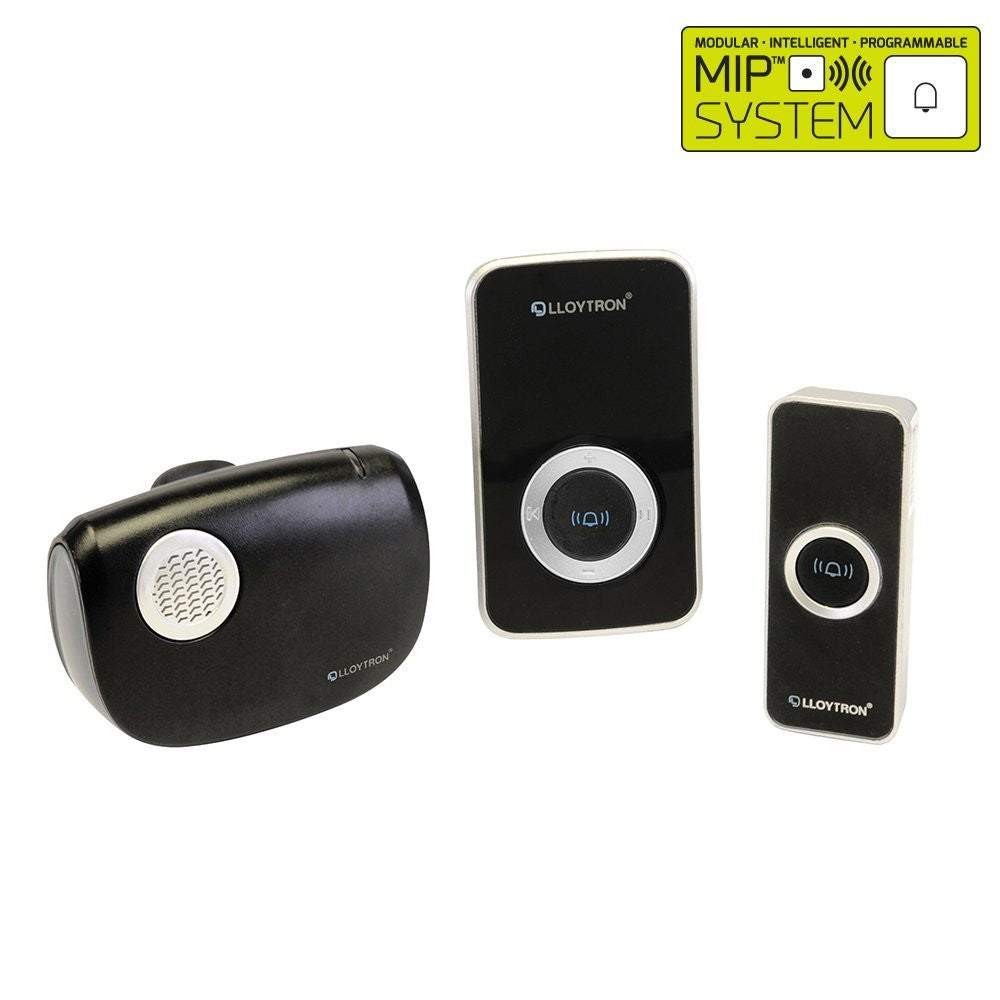Lloytron - Mains & Portable Wireless Door Bell - MiP System - Black - RKL Tools & Hardware  - 1