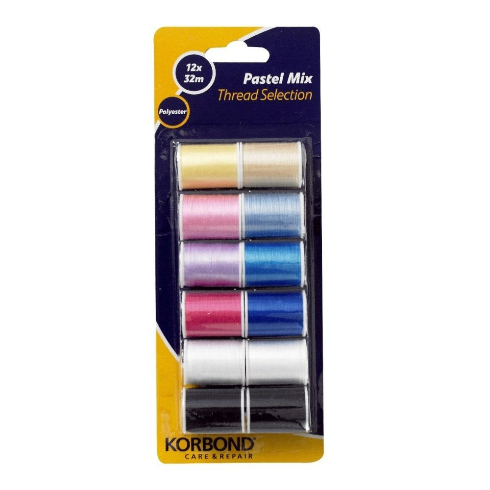 Korbond - Pastel Mix Polyester Thread Selection 12 pack - RKL Tools & Hardware