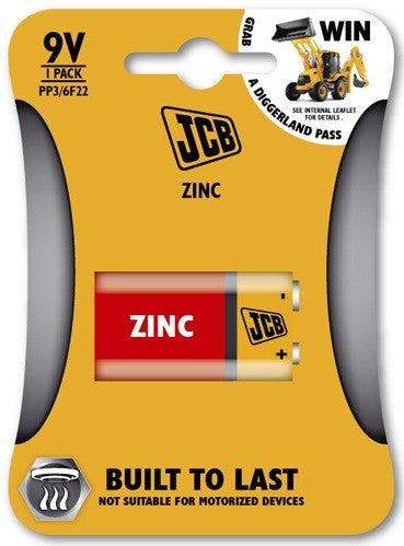 JCB - Zinc Carbon Batteries - 9v - Pack of 1