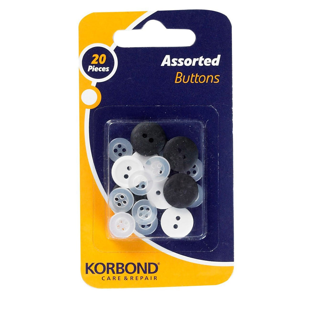 Korbond - 20 Piece Assorted Buttons Pack