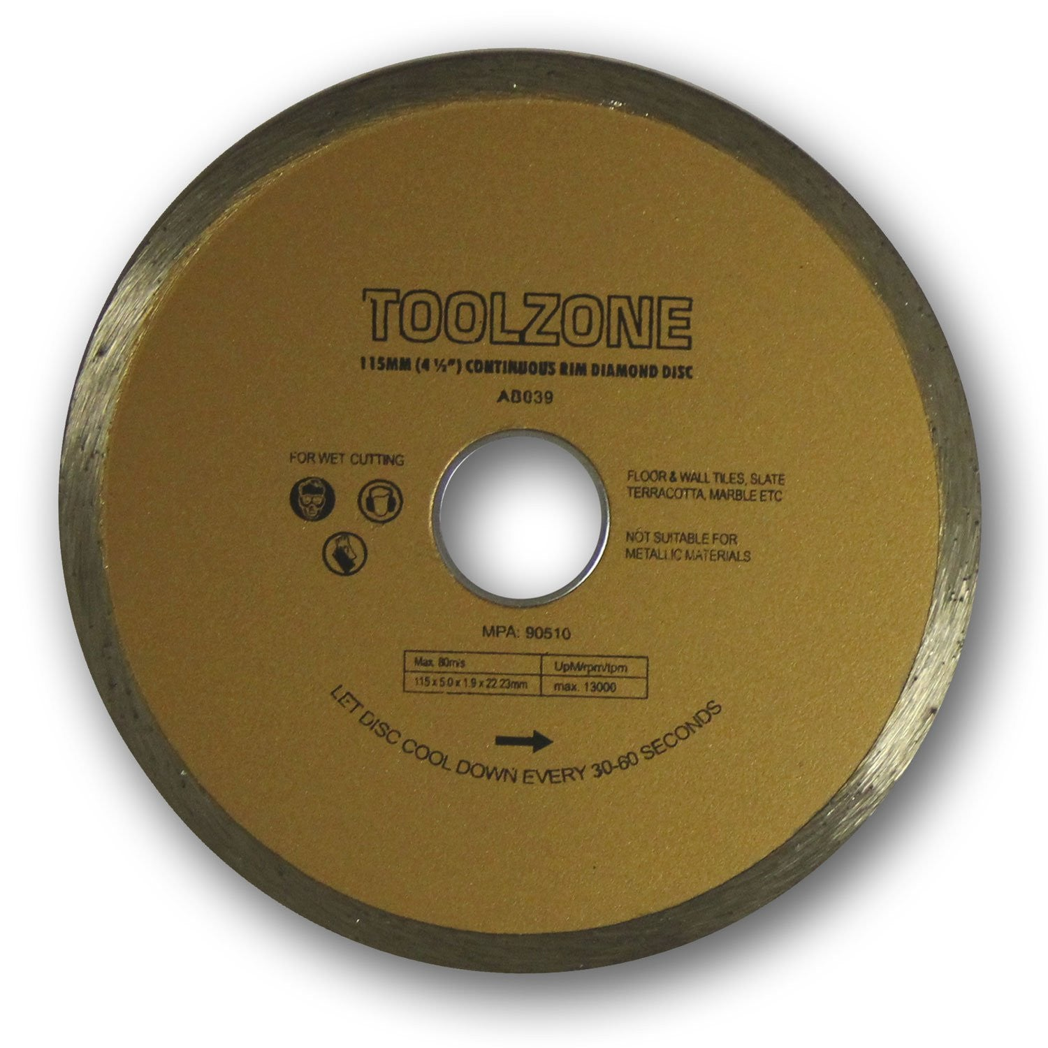 "Toolzone - Diamond Cutting Disc - 115mm (4 1/2"") - Continuous - RKL Tools & Hardware  - 1"