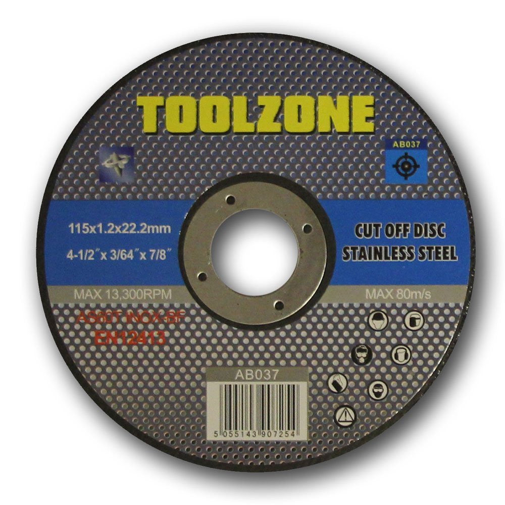 "Toolzone - Stainless Steel Cutting Disc - 115mm (4 1/2"")"
