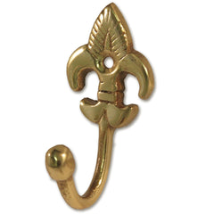 Fleur-De-Lys Tie Back Hooks - Solid Brass - Medium (Pack of 2) - RKL Tools & Hardware