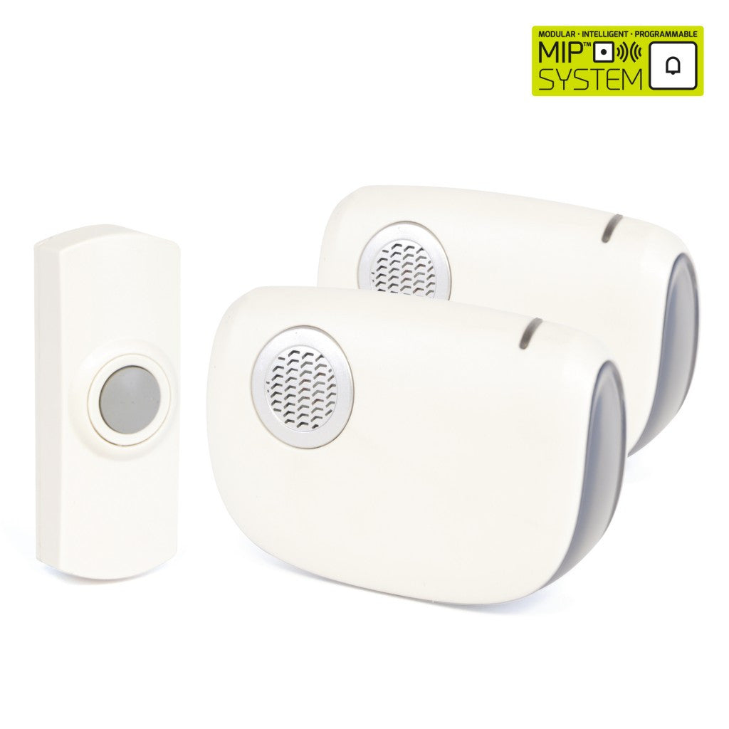 Lloytron - Twin Set of Portable Wireless Door Bell - MiP System - White - RKL Tools & Hardware  - 1